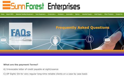 Screenshot of FAQ Page sunnforest.com - Frequently Asked Question,FAQ - Sunnforest Enterprises - captured Oct. 19, 2018