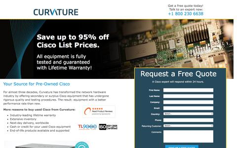 Screenshot of Landing Page curvature.com - Used Cisco Network Equipment | Curvature - captured July 27, 2016