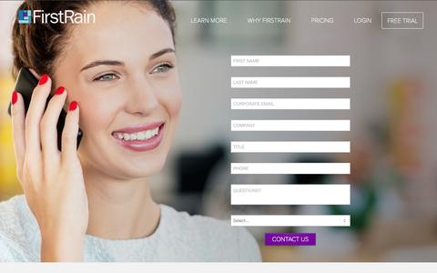 Screenshot of Contact Page firstrain.com - Contact Us - FirstRain - captured Oct. 28, 2014