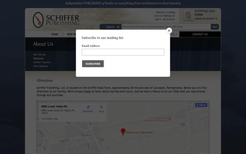 Screenshot of Maps & Directions Page schifferbooks.com - Directions : Schiffer Publishing - captured Sept. 22, 2018