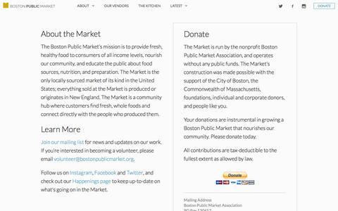 Screenshot of Support Page bostonpublicmarket.org - Boston Public Market | Donate - captured Nov. 14, 2015