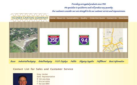 Screenshot of Support Page tilsner-carton.com - Tilsner Carton Company Customer Service | Corrugated Boxes | Displays | Custom Packaging | Minneapolis | St. Paul | Minnesota - captured Oct. 7, 2014