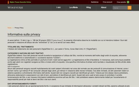 Screenshot of Privacy Page wineverse.it - Privacy Policy - captured Sept. 24, 2014
