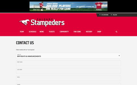Screenshot of Contact Page stampeders.com - Contact Us - Calgary Stampeders - captured Jan. 24, 2016