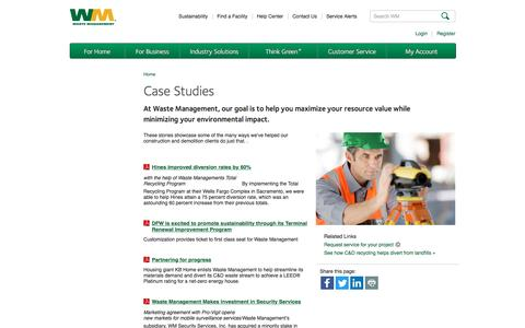 Screenshot of Case Studies Page wm.com - Construction & Demolition Waste Recycling Case Studies | Waste Management - captured Jan. 26, 2017