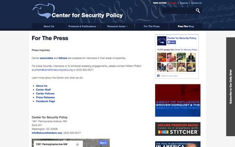 Screenshot of Contact Page centerforsecuritypolicy.org - Center for Security Policy | For The Press - captured Sept. 24, 2014