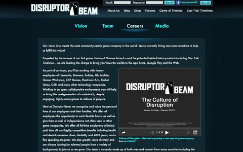 Screenshot of Jobs Page disruptorbeam.com - About Disruptor Beam   Disruptor Beam - captured Dec. 11, 2015