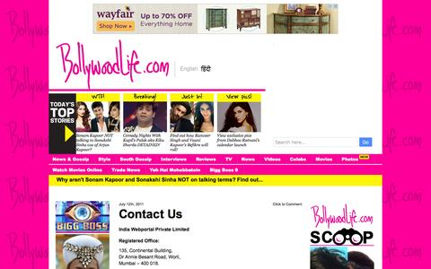 Screenshot of Contact Page bollywoodlife.com captured Jan. 13, 2016