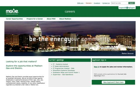 Screenshot of Jobs Page mge.com - Madison Gas and Electric Careers - Madison, Wisconsin - captured Sept. 19, 2014