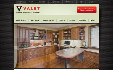 Screenshot of Home Page valetcustom.com - Valet Custom Cabinets & Closets - captured Oct. 8, 2014