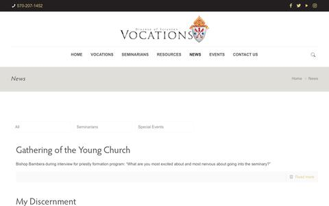 Screenshot of Press Page dioceseofscranton.org - News - Scranton Vocations - captured Oct. 22, 2018