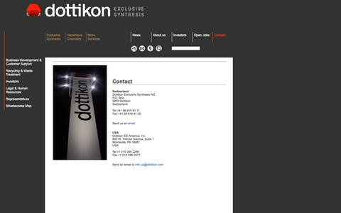 Screenshot of Contact Page dottikon.com - Dottikon - Producer of Fine Chemicals and Organic Intermediates, Custom Synthesis for Chemical and Pharmaceutical Industry, Waste Disposal and Recycling - captured Oct. 5, 2014