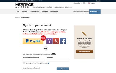 Screenshot of Login Page ha.com - Sign-In To Heritage Auctions - captured Jan. 19, 2020