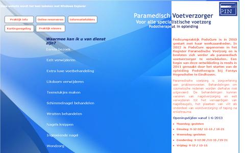 Screenshot of Home Page podocure.nl - Pedicure Praktijk Tiel - captured Sept. 30, 2014