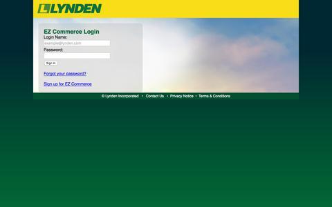 Screenshot of Login Page lynden.com - Lynden EZ Commerce Login - captured Sept. 22, 2018