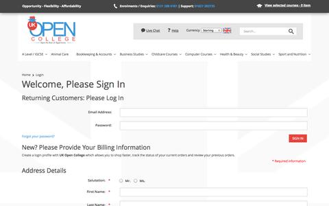 Screenshot of Login Page ukopencollege.co.uk - Login : UK Open College, Distance Learning Specialists - captured Sept. 30, 2014