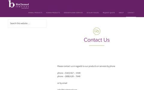 Screenshot of Contact Page biochemed.com - Contact BioChemed Services | Biologicals & Biological Supplies - captured Feb. 7, 2016
