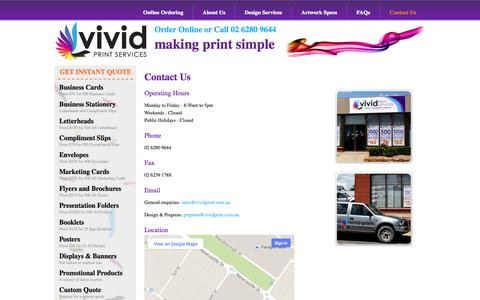 Screenshot of Contact Page vividprint.com.au - Contact Us - Vivid Print Services - captured Oct. 26, 2014