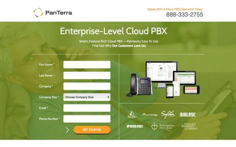 Screenshot of Landing Page panterranetworks.com - Panterra Networks | Enterprise-Level Cloud PBX - captured May 2, 2016