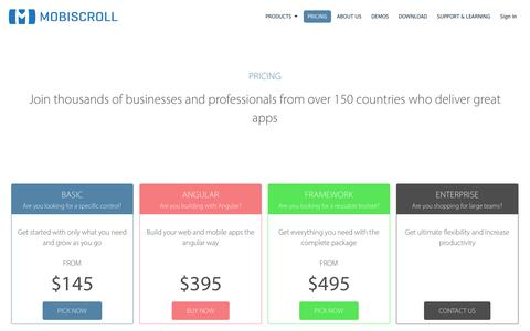 Screenshot of Pricing Page mobiscroll.com - Mobiscroll UI Library Pricing and Packages - captured Jan. 17, 2016