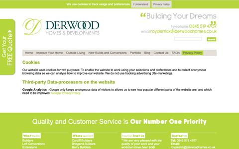 Screenshot of Privacy Page derwoodhomes.co.uk - Privacy Policy - Home - Cardiff Builders - captured Oct. 8, 2018