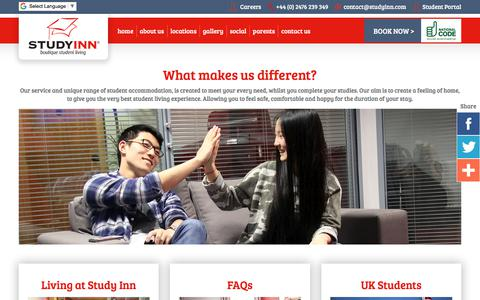 Screenshot of About Page studyinn.com - What makes us different for Student Accommodation? - captured Nov. 11, 2017