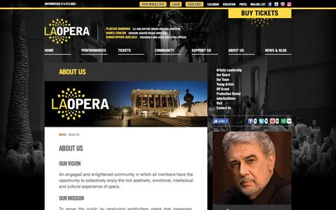 Screenshot of About Page laopera.org - LA Opera | About Us - captured May 11, 2017