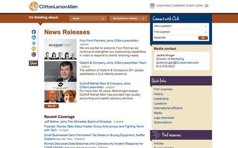 Screenshot of Press Page claconnect.com - Media Contacts and News Releases (PR): CliftonLarsonAllen (CLA) LLP - captured Jan. 25, 2016