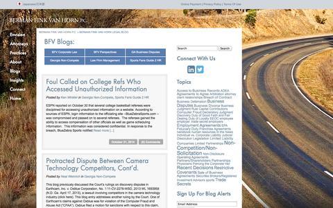 Screenshot of Blog bfvlaw.com - Berman Fink Van Horn Legal Blog   Berman Fink Van Horn P.C. - captured Nov. 3, 2014