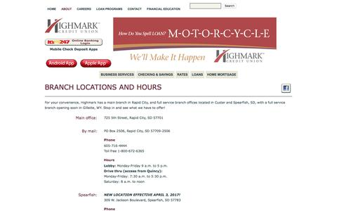 Screenshot of About Page Locations Page highmarkfcu.com - Rapid City Credit Union | Highmark Federal Credit Union | About Us - captured April 22, 2017