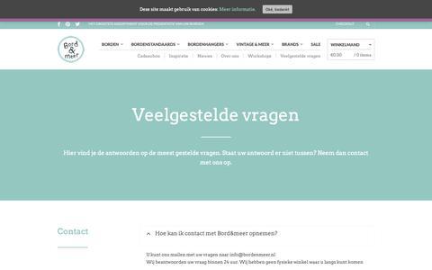 Screenshot of FAQ Page bordenmeer.nl - Veelgestelde vragen - Bord&Meer.nl - captured Oct. 6, 2018