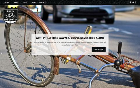 Screenshot of Home Page phillybikelawyer.com - Bike Accident Attorney in Philadelphia - captured Sept. 29, 2014