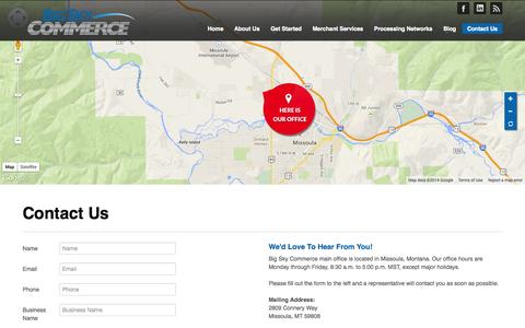 Screenshot of Contact Page bigskycommerce.com - Big Sky Commerce | Contact Us - captured Sept. 30, 2014