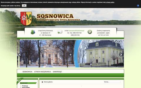 Screenshot of Home Page Privacy Page sosnowica.pl - Witaj na stronie Gminy Sosnowica - captured May 30, 2016