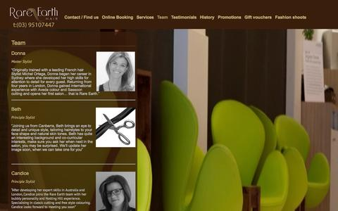 Screenshot of Team Page rareearthhair.com.au - Rare Earth Hair Prahran - Team | Rare Earth Hair Salon - captured Oct. 7, 2014