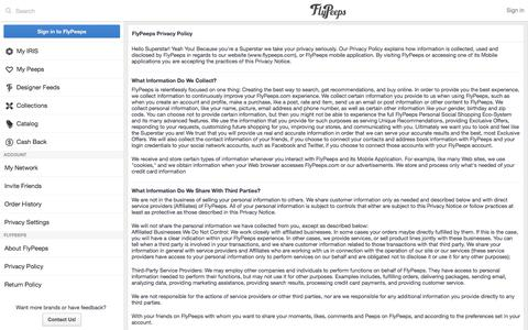 Screenshot of Privacy Page flypeeps.com - FAQs   Order & Delivery Information   FlyPeeps - captured Sept. 16, 2014