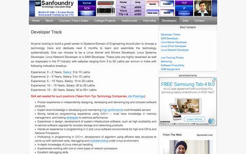 Screenshot of Developers Page sanfoundry.com - Career in Linux Kernel, Driver, SAN & Network Programming | Sanfoundry - captured Dec. 21, 2015