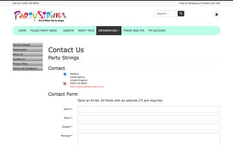 Screenshot of Contact Page partystrings.co.uk - Contact Us - captured July 11, 2016