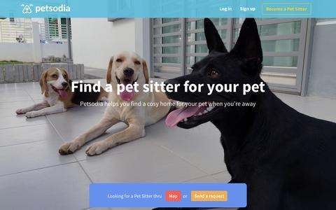 Screenshot of Home Page petsodia.com - Petsodia - Sharing Love thru Pet Sitting. - captured Nov. 13, 2015