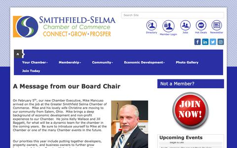 Screenshot of About Page smithfieldselma.com - About Us - Greater Smithfield-Selma Area Chamber of Commerce, NC - captured Sept. 30, 2018