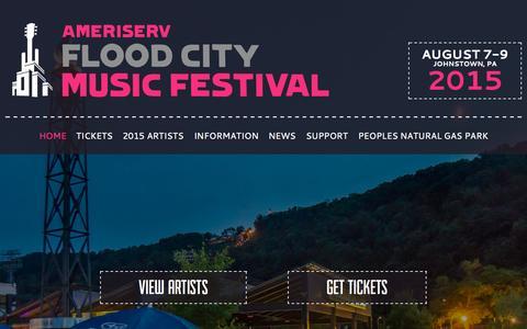 Screenshot of Home Page floodcitymusic.com - Flood City Music Festival - AmeriServ Flood City Music Festival - captured Sept. 27, 2015