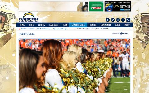 Screenshot of About Page chargers.com - Charger Girls   San Diego Chargers - captured Jan. 20, 2016