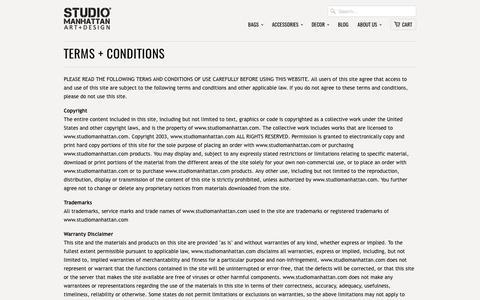 Terms + Conditions                           | Studio Manhattan