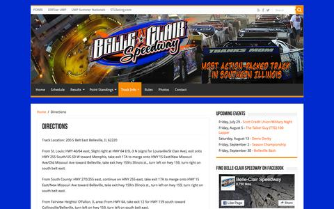 Screenshot of Maps & Directions Page belleclairspeedway.net - Directions – Belle-Clair Speedway - captured July 29, 2016