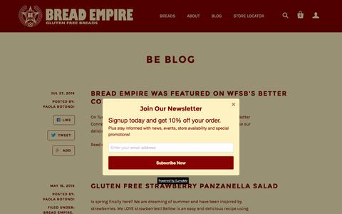 Screenshot of Blog bread-empire.com - BE Blog | BREAD EMPIRE - captured July 27, 2016