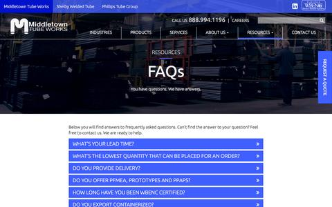 Screenshot of FAQ Page middletowntube.com - Frequently Asked Questions | Middletown Tube Works - captured Nov. 28, 2016
