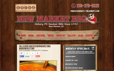 Screenshot of Press Page newmarketbbq.com - In The News | New Market BBQ Best Old School Pit Smoked BBQ found in the New Market and Huntsville AL area. - captured Sept. 26, 2014