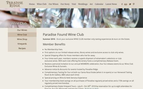 Screenshot of Signup Page prwinery.com - Wine Club - Paradise Ridge Winery - captured Sept. 26, 2018