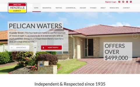 Screenshot of Home Page henzells.com.au - Henzells Agency - Caloundra - captured Oct. 2, 2014