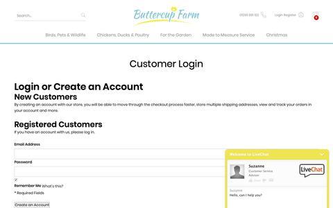 Screenshot of Login Page buttercupfarm.co.uk - Customer Login - captured Dec. 19, 2018